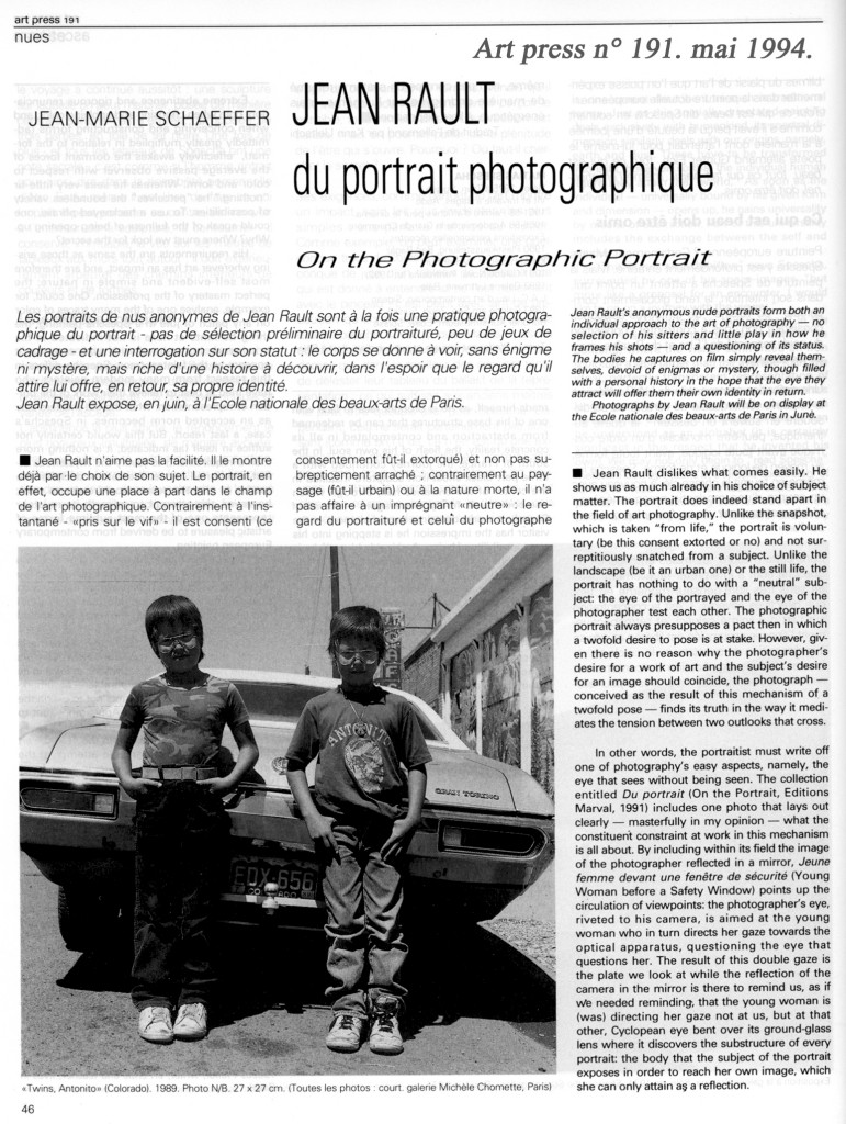 Jean Marie Schaeffer-Art Press mai 94 p. 1