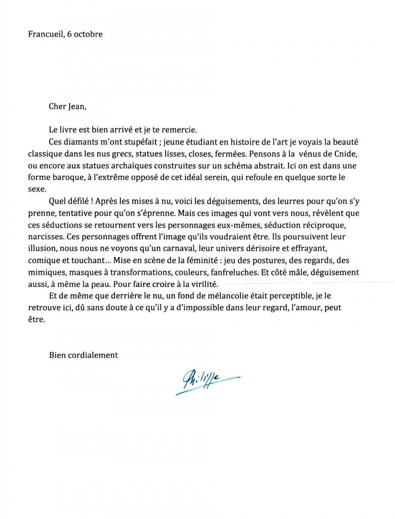 Lettre de Philippe ARBAÏZAR